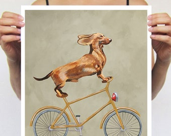 Daschund painting, print from original painting by Coco de Paris: Daschund on bicycle