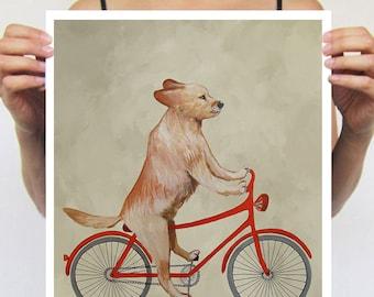 Golden Retriever painting, print from original painting by Coco de Paris: Golden Retriever on bicycle