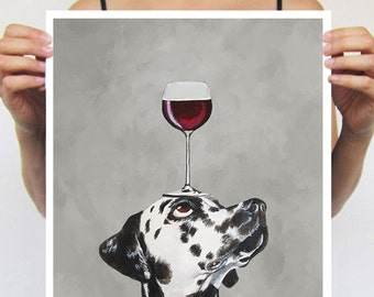 Dalmatian print from original painting by Coco de Paris: Dalmatianwith wineglass