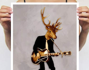 Deer Poster, Antlers, Stag Print, Circus Poster, Deer Illustration, print from original painting by Coco de Paris: Rock Deer