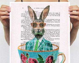 Rabbit Poster, Rabbit Artwork, Alice in Wonderland, print from original painting by Coco de Paris: Rabbit in a cup
