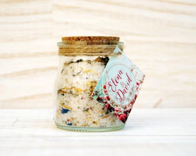 Featured listing image: 20 tarros de vidrio con sales de baño relajantes para detalles de boda.