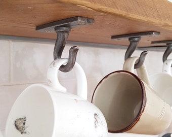 6 Cup hook coat hanger shelf bracket cast iron hanging hooks | Hand Forged | Utility Hooks | Mug hook BLACK