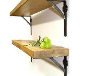 Rustic wood Thin Shelf Shelves Industrial Metal Iron Brackets