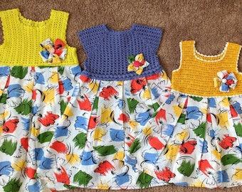 Babykleid Häkeln Und Stoff Crochet Miederkleid Etsy