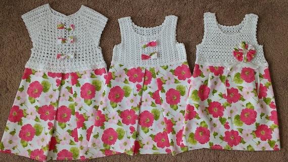 Häkeln Und Stoff Kleid Oberteil Häkeln Kleid Mädchen Stoff Etsy