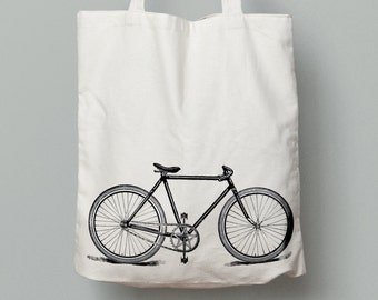 Bicycle tote bag, vintage bike tote, canvas tote bag