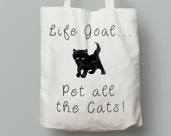 Pet all the cats tote bag, funny cat tote bag, canvas tote bag