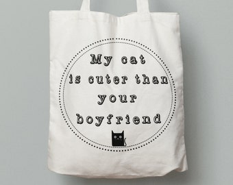 cat tote bag, funny cat bag, canvas tote bag, cute cat gift