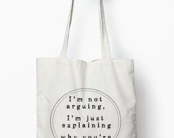 funny tote bag, funny gift, reusable shopping bag