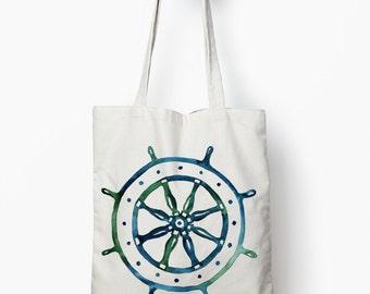 ship wheel shopping bag, nautical tote bag, canvas tote bag
