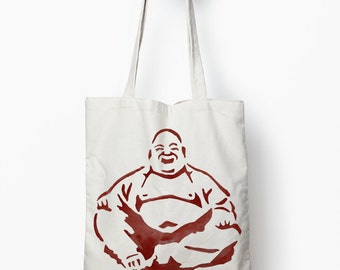 Orange Buddha tote bag, canvas tote, Zen bag