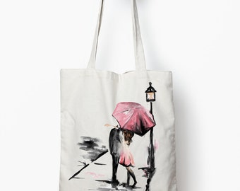 canvas tote bag, Romance tote bag, canvas tote
