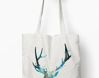 Stag tote bag, deer tote bag, canvas tote bag, reusable bag