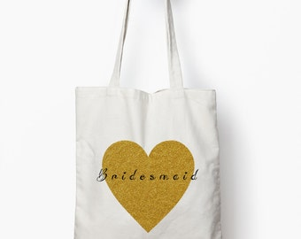 Gold glitter bridesmaid tote bag, bridesmaid gift, wedding tote bag