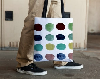 polka-dot tote bag, modern beach bag, weather resistant tote.