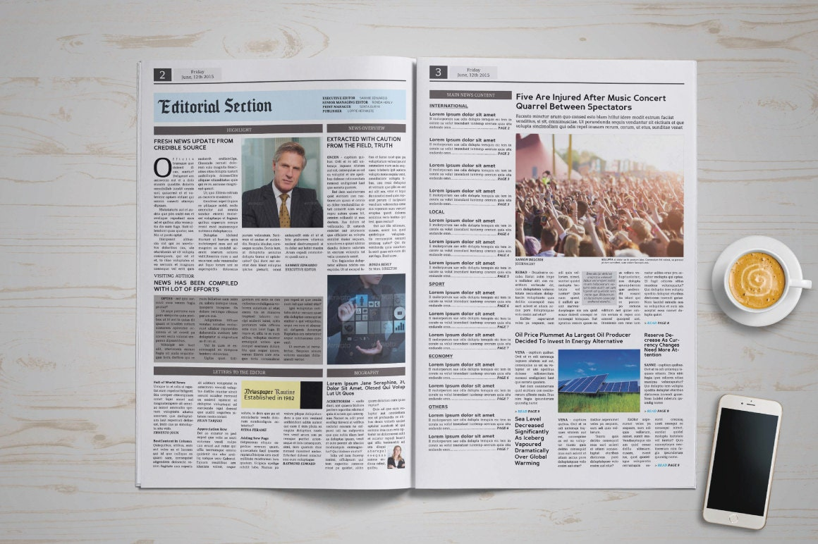 Plantilla de periódico tabloide tamaño de HijauDesign en Etsy Studio