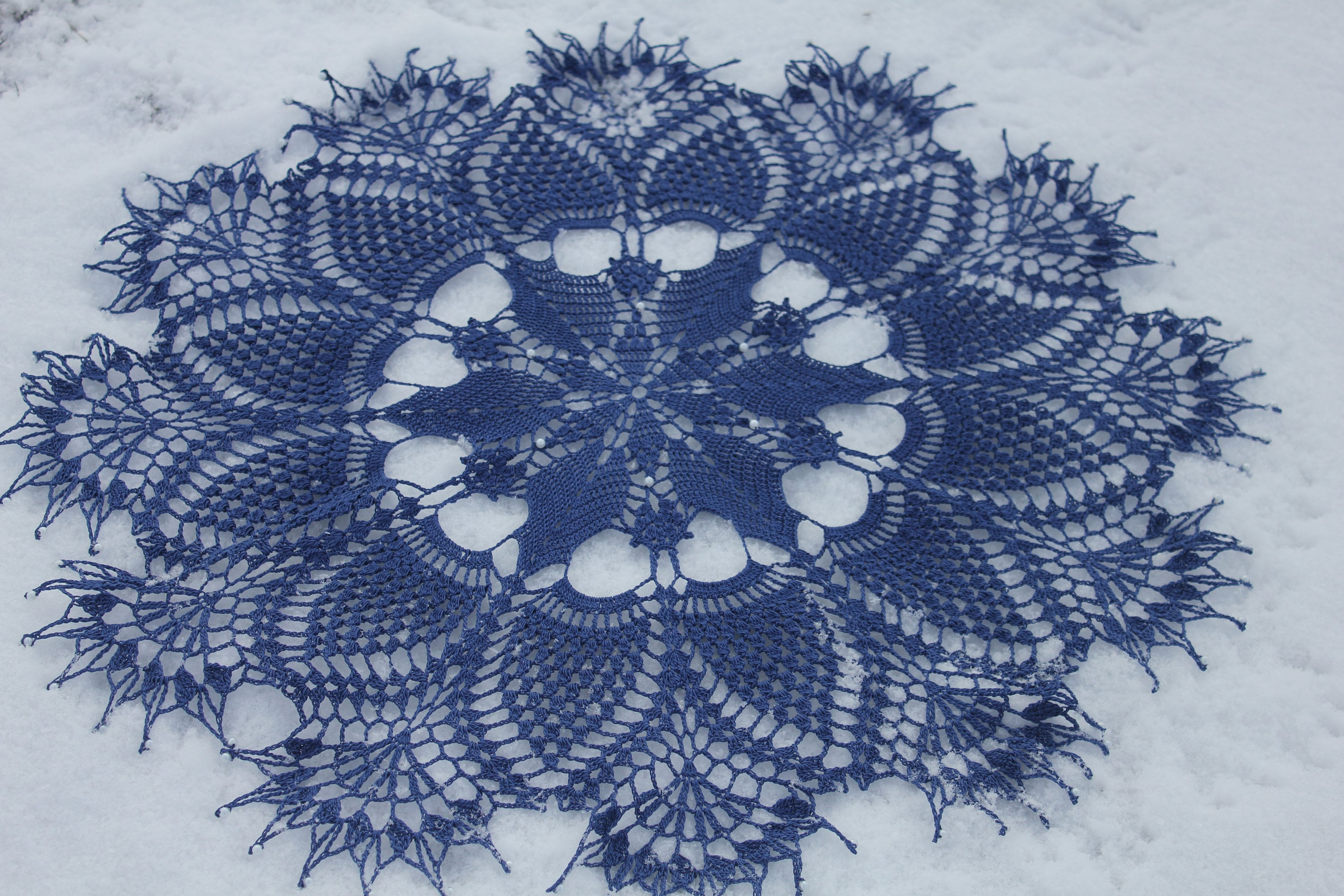Free Shipping Christmas Snowflake Crochet Doily Blue Cotton Etsy