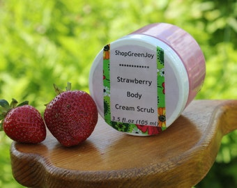 Summer bath gift Strawberry gift Strawberry Body Cream Scrub Organic shower cream Vegan Body Cream Natural Body Cream Body Moisturizer Scrub