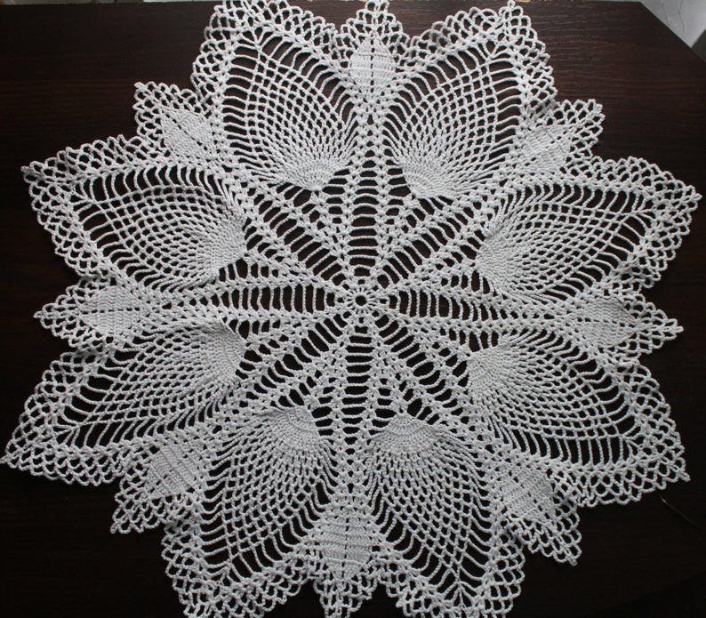 Free Shipping Large White Crochet Doily Round Tablecloth Etsy