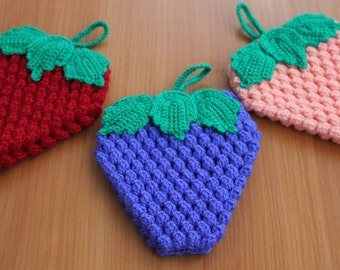 Crochet Pot Holders Crochet Berries Hot Pads Bright Potholders Strawberry Hot Pads Crochet Kitchen Decor Strawberry Trivet Kitchen Hot Pads