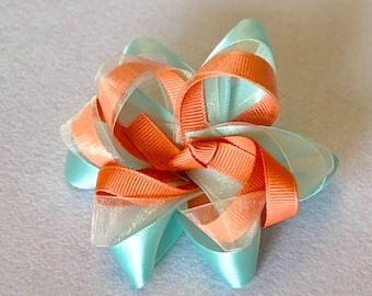 Peach and Teal Twist Bow