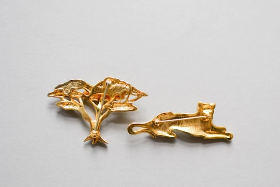 Tiger Brooch, Brooch Set, Vintage Tiger Brooch, S… - image 4