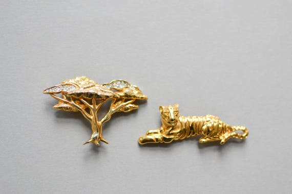 Tiger Brooch, Brooch Set, Vintage Tiger Brooch, S… - image 2