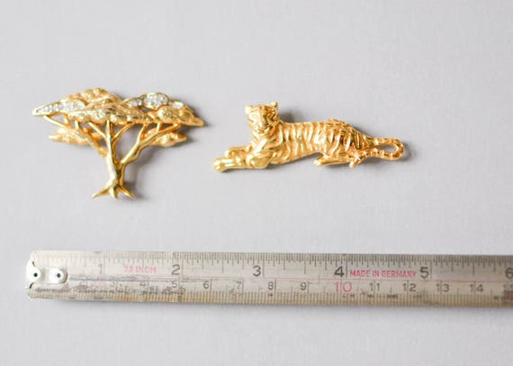 Tiger Brooch, Brooch Set, Vintage Tiger Brooch, S… - image 5