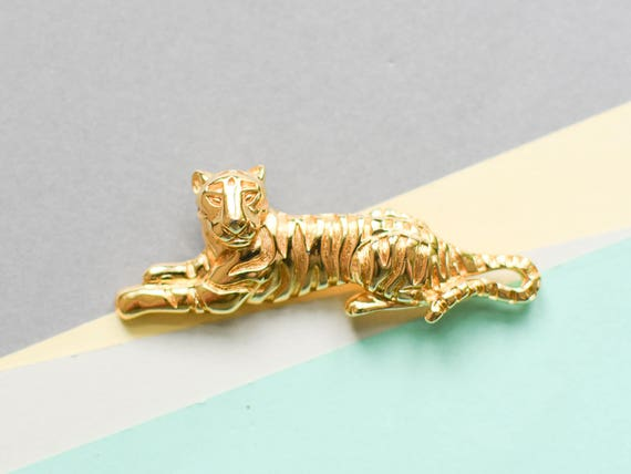 Tiger brooch, cat brooch, wild cat brooch, 90s br… - image 1