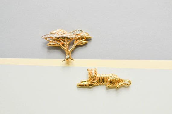 Tiger Brooch, Brooch Set, Vintage Tiger Brooch, S… - image 1