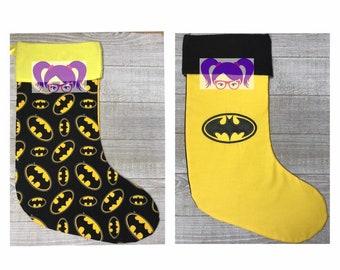 batman stocking batman christmas stocking christmas stocking personalized stocking custom stocking holiday stocking