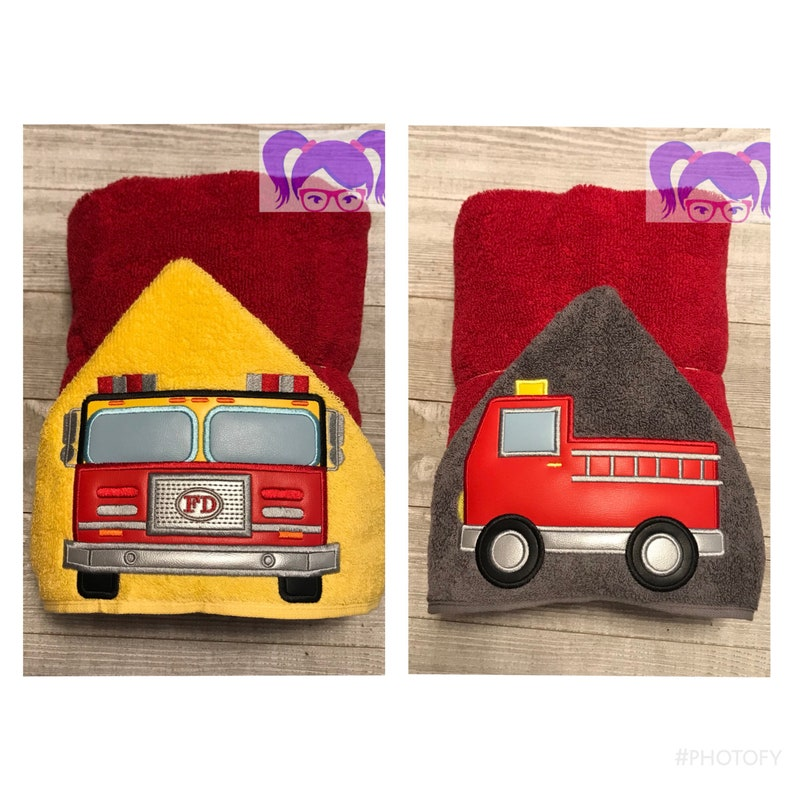 Fire Truck Hooded Towel Toddler Fire Truck Personalized image 0