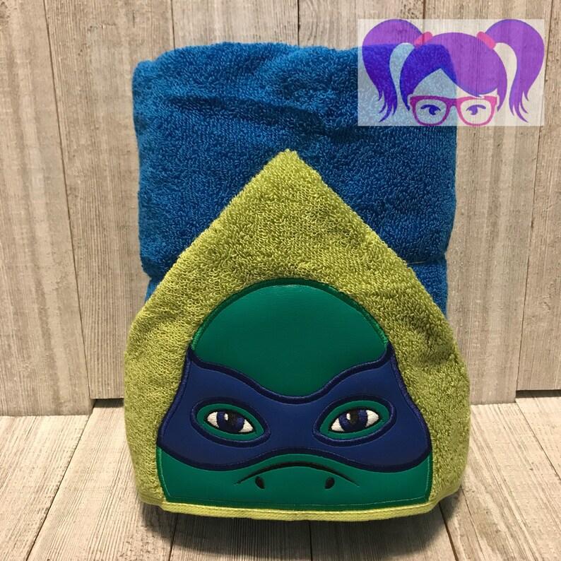 Leonardo Hooded Towel Turtle Hooded Towel TMNT Towel image 0