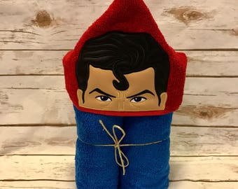 Hooded Towel, Superman Hooded Towel, Superman Bath Towel, Bath, Bathroom, Superman Towel, Superman