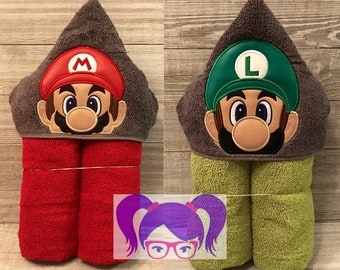 Hooded Towel, Super Mario Bros. Hooded Towel, Super Mario Bros. Bath Towel, Bath, Bathroom, Super Mario Towel, Super Mario Bros.