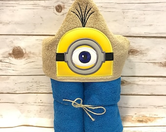 Hooded Towel, Minion Hooded Towel, Minion Bath Towel, Bath, Bathroom, Minion Towel