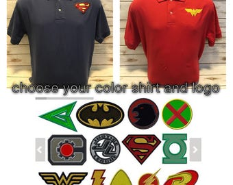 Men's Polo shirt, Men's superhero shirt, DC polo shirt, DC business shirt, business casual shirt, Men's superhero polo shirt, JLA Shirt