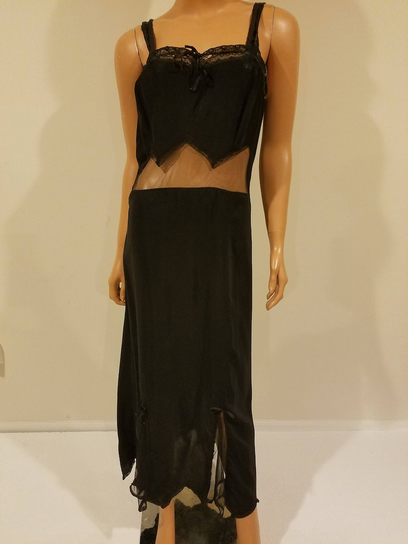 28170e40f7 Vintage black silk slip dress with sheer cutouts