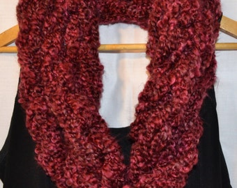 The Linda Scarf: infinity.circle.necklace.cowl.long.extra long.warm.soft.chunky. yarn.handmade.red.burgandy.cranberry.wine.cabernet.garnet.