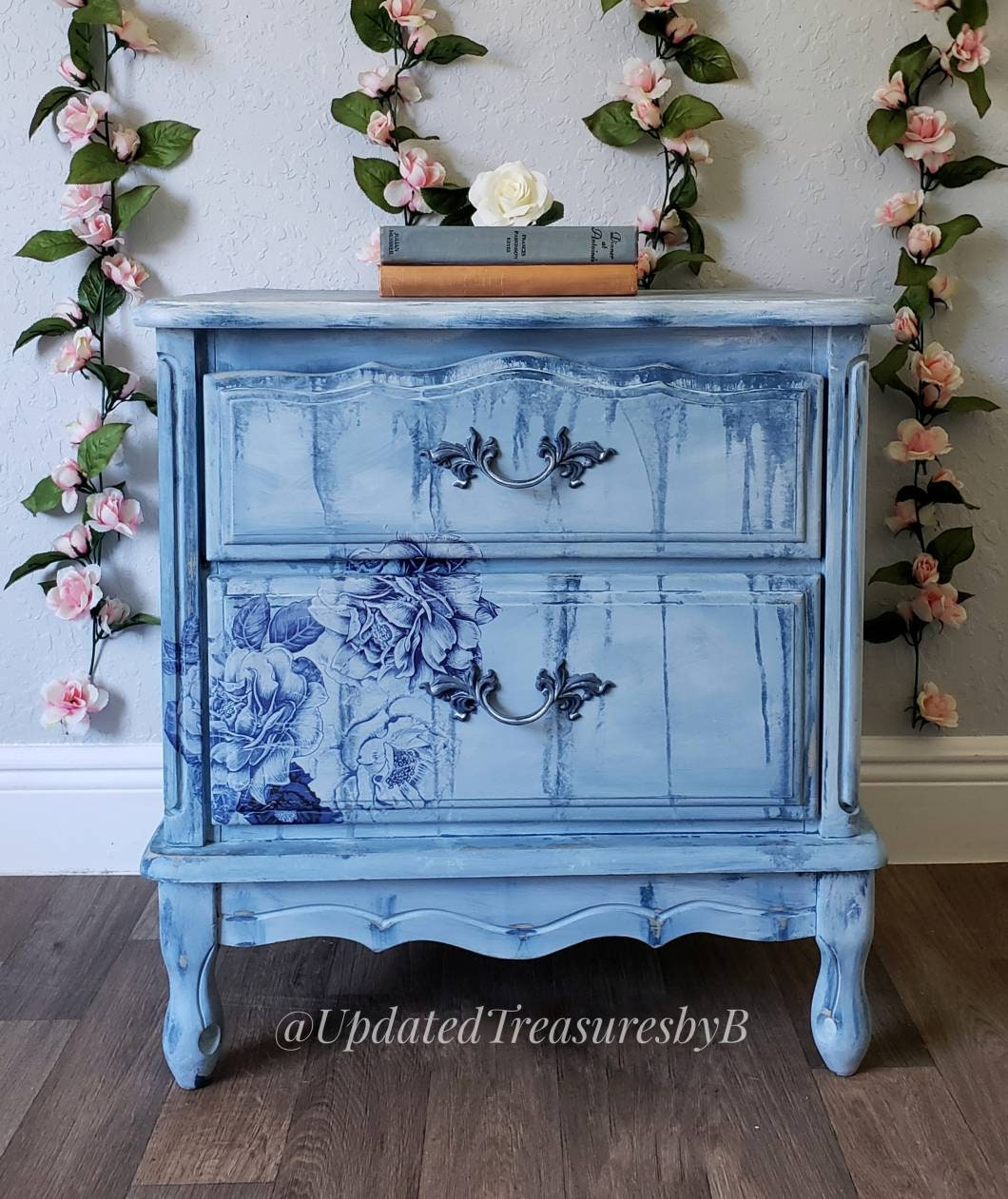Vintage French Boho Farmhouse Floral Blue And White Nightstand End Table
