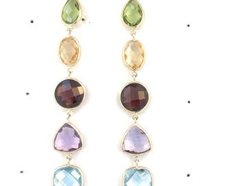 Multicolor Double Checkerboard Gemstone Earrings Set In 14K Solid Yellow Gold