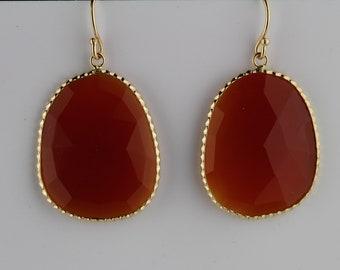 Carnelian Faceted Slice Earrings Set In 14K Gold