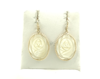 Oval Carved Mother of Pearl Hook Earrings Set In 14K Solid Yellow Gold