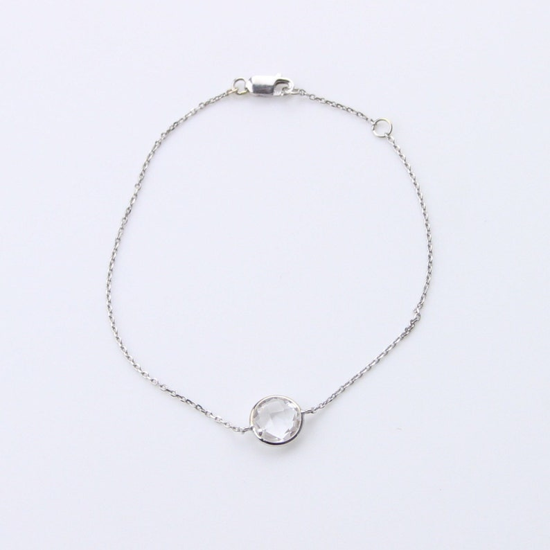 Single Stone Bracelet Set in 14 Karat White Gold... White Quartz
