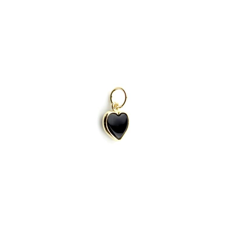 Black Onyx Beveled Charm  Pendant Set In 14K Solid Gold...