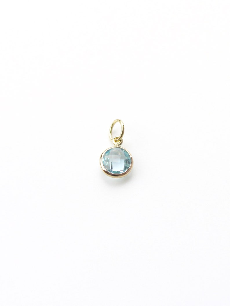 Sky Blue Topaz 6mm Round Double Checkerboard Charm Set In 14K Solid Yellow Gold
