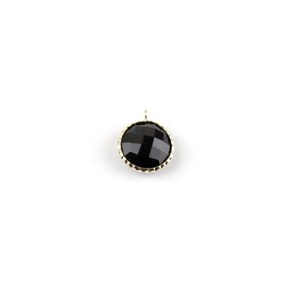 8mm 3mm natural Black Onyx pendant 14k solid yellow gold 3/'/' Circle