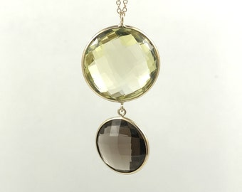 Round Smoky And Lemon Quartz Pendant Set In 14K Solid Gold with Chain