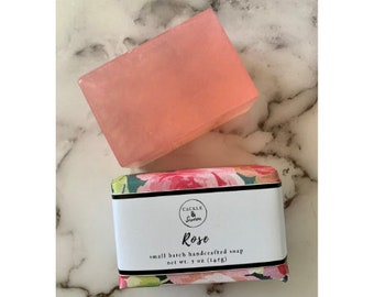 Rose - Artisan Handmade Soap - Bar Soap - Sulfate Free Soap - Rose Scented Soap - Vegan Soap - Floral Soap - Gift for Her